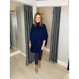 Lucy Cobb Rosa Roll Neck Jumper in Navy