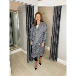 Lucy Cobb Jessica Boucle Coat in Grey Mix