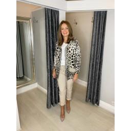 Lucy Cobb Rai Animal Print Hodded Jacket in Stone
