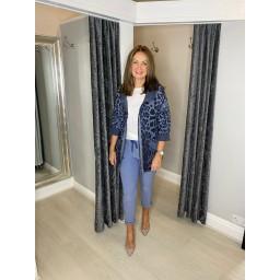 Lucy Cobb Rai Animal Print Hodded Jacket in Denim Blue