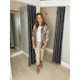 Lucy Cobb Rai Animal Print Hodded Jacket in Baby Pink