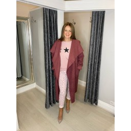 Lucy Cobb Jessica Boucle Coat in Rose