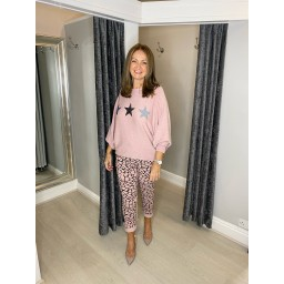 Lucy Cobb Giraffe Print Magic Joggers in Baby Pink