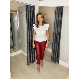 Lucy Cobb Pacha Pleather Crinkle Joggers in Red