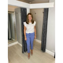 Lucy Cobb Magic Trousers (Clara Crinkle) in Denim Blue