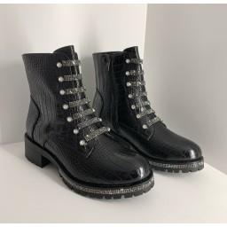 Lucy Cobb Footwear Croc Diamante Boots in Black