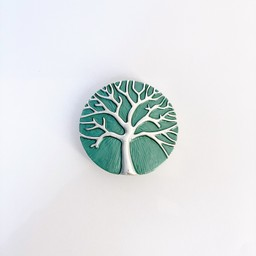 Lucy Cobb Jewellery Tree Of Life Strong Magnetic Brooch in Soft Green