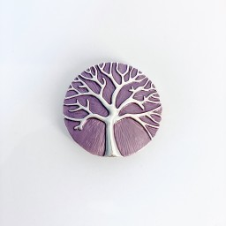 Lucy Cobb Jewellery Tree Of Life Strong Magnetic Brooch in Lilac Purple