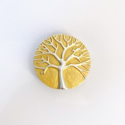 Lucy Cobb Jewellery Tree Of Life Strong Magnetic Brooch in Mustard
