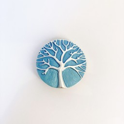 Lucy Cobb Jewellery Tree Of Life Strong Magnetic Brooch in Turquoise