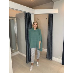Lucy Cobb Ria Ribbed Funnel Neck Jumper - Soft Green