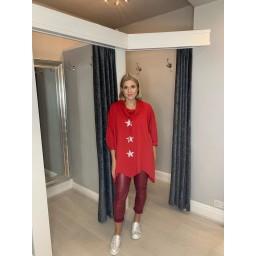 Lucy Cobb Venus Cowl Neck Sweatshirt in Red