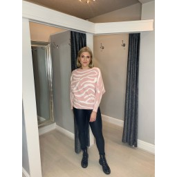 Lucy Cobb Amber Animal Print Batwing Jumper in Pink Zebra