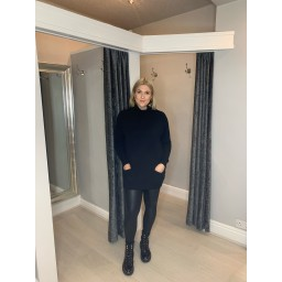 Lucy Cobb Katia Roll Neck Two Pocket Jumper in Black