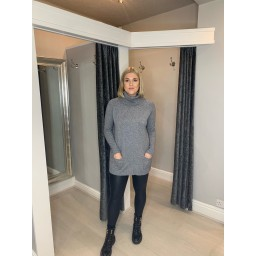 Lucy Cobb Katia Roll Neck Two Pocket Jumper in Marl Grey