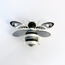 Lucy Cobb Bee Strong Magnetic Brooch in Silver