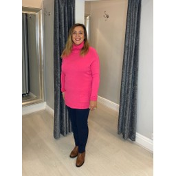 Lucy Cobb Katia Roll Neck Two Pocket Jumper in Fuchsia