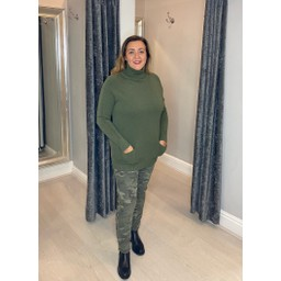 Lucy Cobb Katia Roll Neck Two Pocket Jumper in Khaki