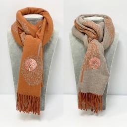 Lucy Cobb Willow Reversible Pashmina - Burnt Orange