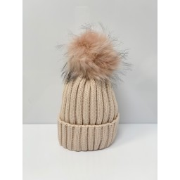 Lucy Cobb Accessories Faux Fur Bobble Hat in Baby Pink