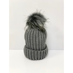 Lucy Cobb Accessories Faux Fur Bobble Hat in Charcoal