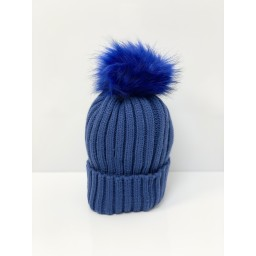 Lucy Cobb Accessories Faux Fur Bobble Hat in Royal