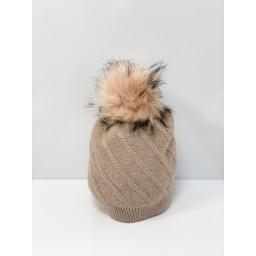 Lucy Cobb Accessories Sparkle Faux Fur Bobble Hat - Blush Pink