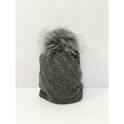 Lucy Cobb Accessories Sparkle Faux Fur Bobble Hat - Charcoal