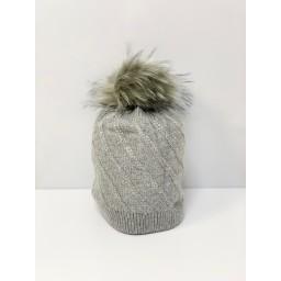 Lucy Cobb Accessories Sparkle Faux Fur Bobble Hat - Silver Grey