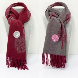 Lucy Cobb Willow Reversible Pashmina in Berry
