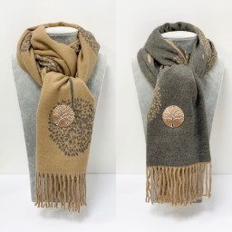 Lucy Cobb Willow Reversible Pashmina in Camel