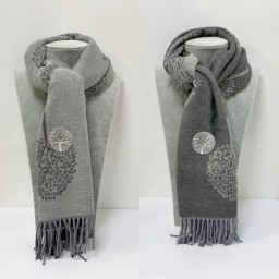 Lucy Cobb Willow Reversible Pashmina in Grey