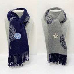 Lucy Cobb Willow Reversible Pashmina in Navy