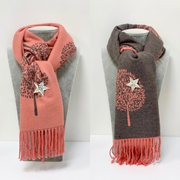 Lucy Cobb Willow Reversible Pashmina in Salmon