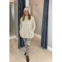 Lucy Cobb Tara Triple Pocket Roll Neck in Stone