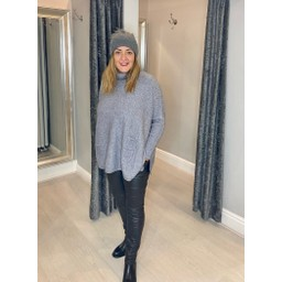 Lucy Cobb Tara Triple Pocket Roll Neck in Grey