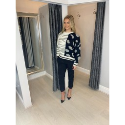 Lucy Cobb Mixed Animal Print Jumper - Black & White