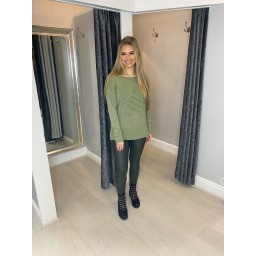 Lucy Cobb Rebecca Ribbed Star Jumper in Khaki