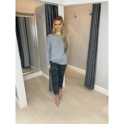 Lucy Cobb Rebecca Ribbed Star Jumper in Marl Grey
