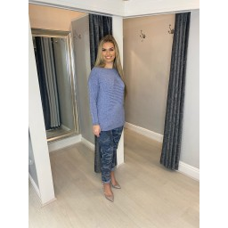 Lucy Cobb Rebecca Ribbed Star Jumper in Denim Blue