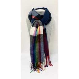 Lucy Cobb Accessories Rainbow Stripe Scarf in Navy