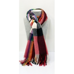 Lucy Cobb Accessories Rainbow Stripe Scarf in Red