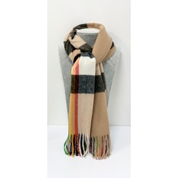 Lucy Cobb Accessories Rainbow Stripe Scarf in Stone