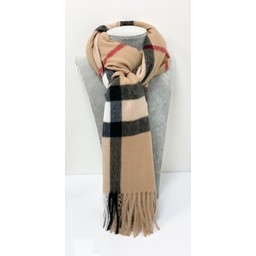 Lucy Cobb Accessories Briana Checked Scarf - Camel