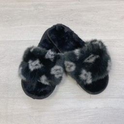 Lucy Cobb Shoes Louisa Fluffy Slippers in Black