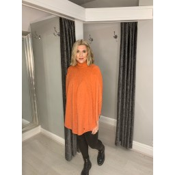 Lucy Cobb Rosa Roll Neck Jumper in Coral