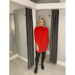 Lucy Cobb Rosa Roll Neck Jumper in Red