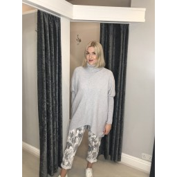 Lucy Cobb Josie Roll Neck jumper in Silver Grey