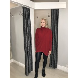 Lucy Cobb Josie Roll Neck jumper in Red