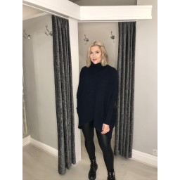 Lucy Cobb Josie Roll Neck jumper in Navy